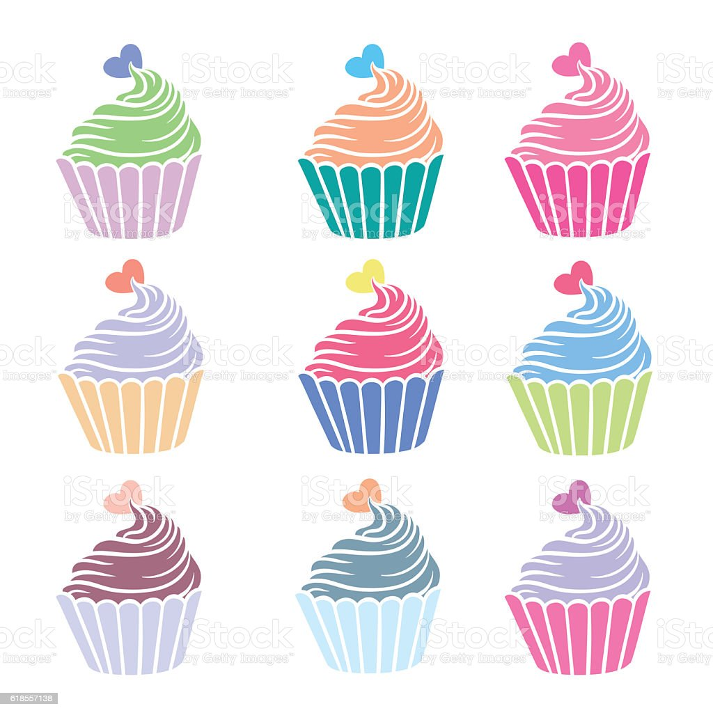 Set of colorful cakes. vector art illustration