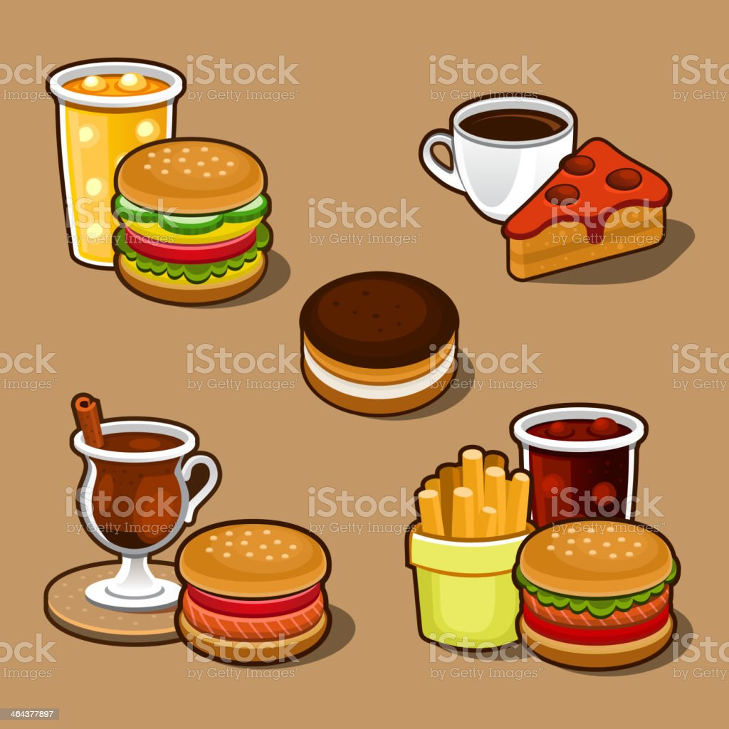 Set of colorful cartoon fast food and cake. royalty-free stock vector art