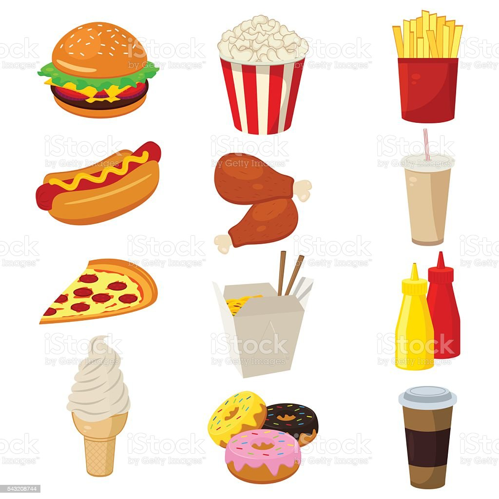 Set of colorful cartoon fast food icons isolated on white. vector art illustration