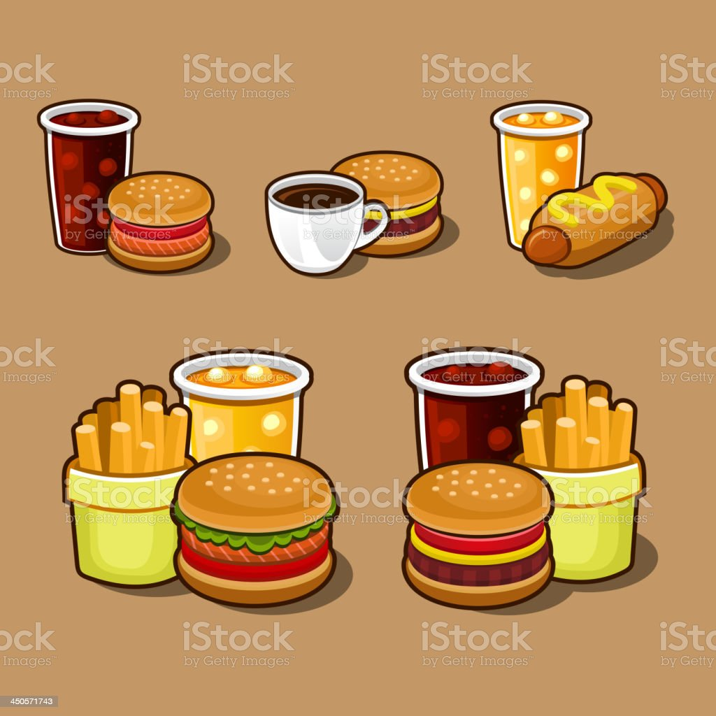 Set of colorful cartoon fast food icons. royalty-free stock vector art