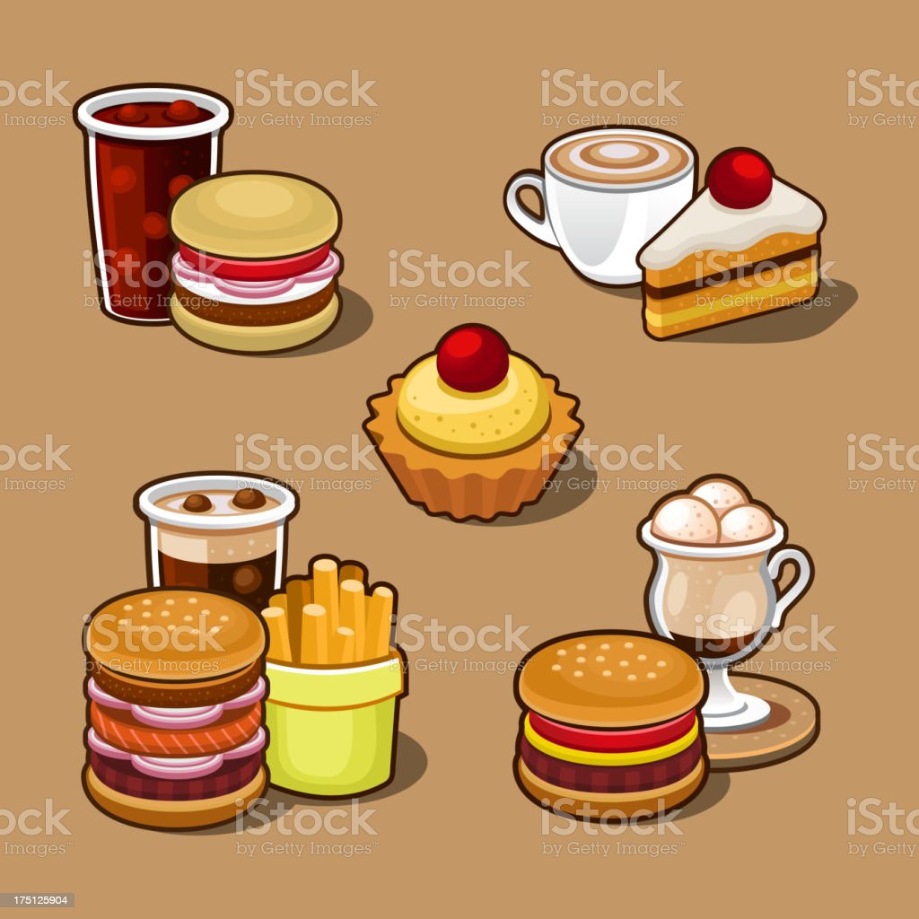 Set of colorful cartoon fast food. royalty-free stock vector art
