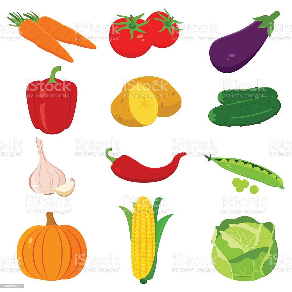 Set of colorful cartoon vegetables icons isolated on white. Vector royalty-free stock vector art