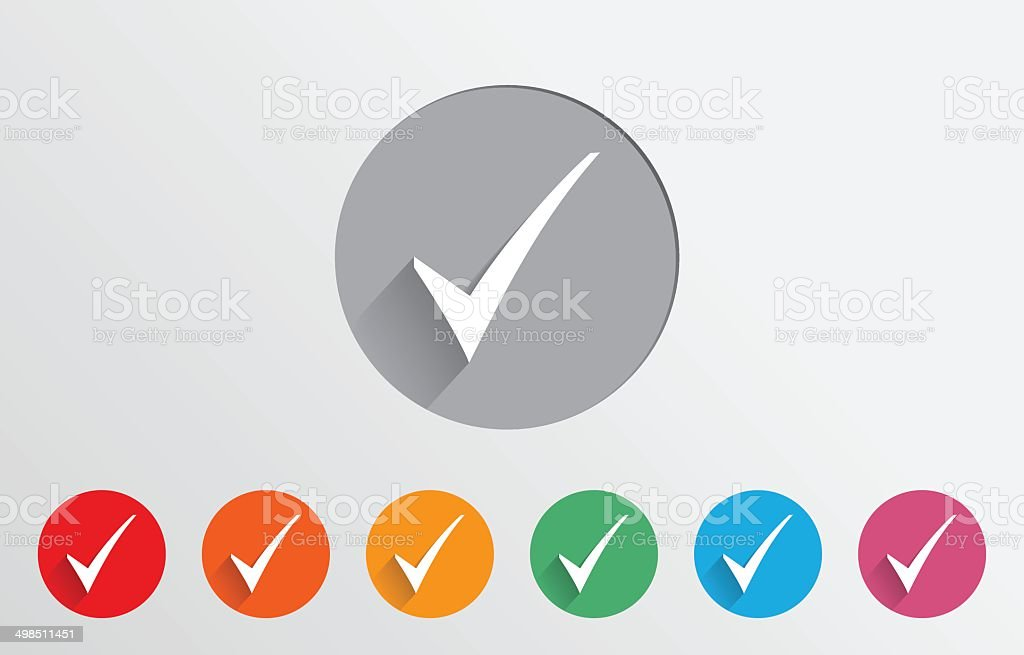 Set of colorful check icons vector art illustration