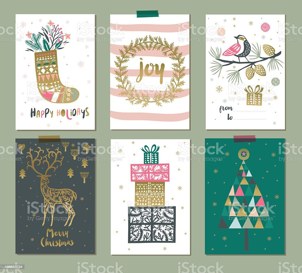 Set of colorful Christmas gift tags or labels vector art illustration