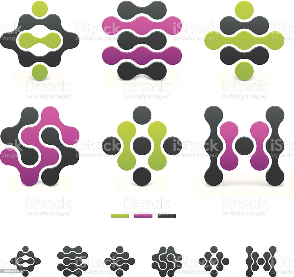 Set of colorful curvy abstract designs royalty-free stock vector art