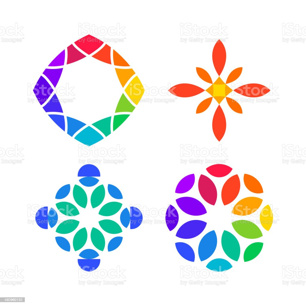 Set of colorful Design Elements vector art illustration