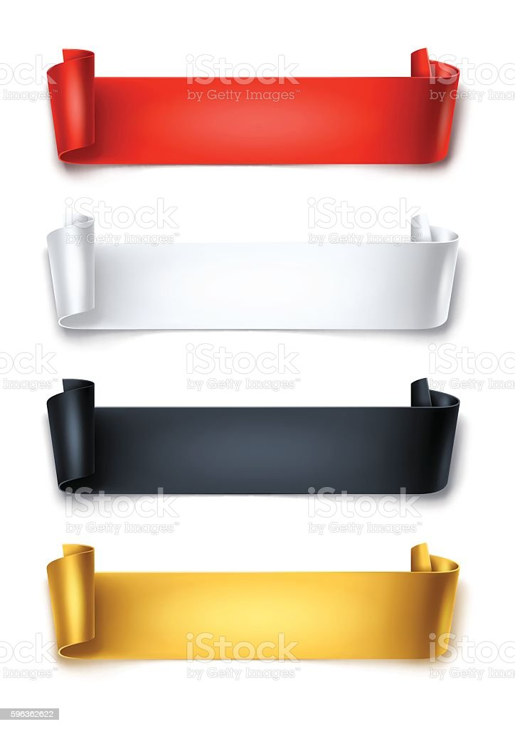 Set of colorful detailed curved ribbons isolated on white background. vector art illustration