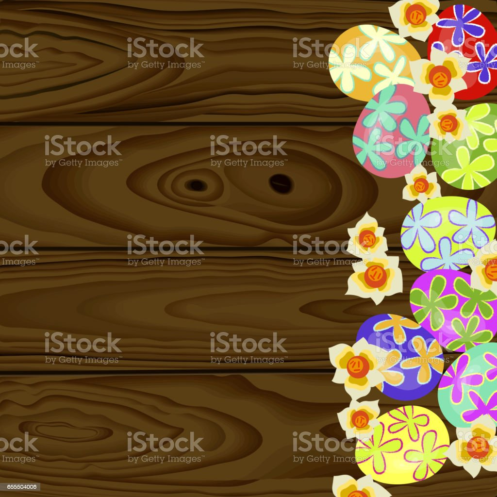 Set of colorful Easter eggs vector art illustration