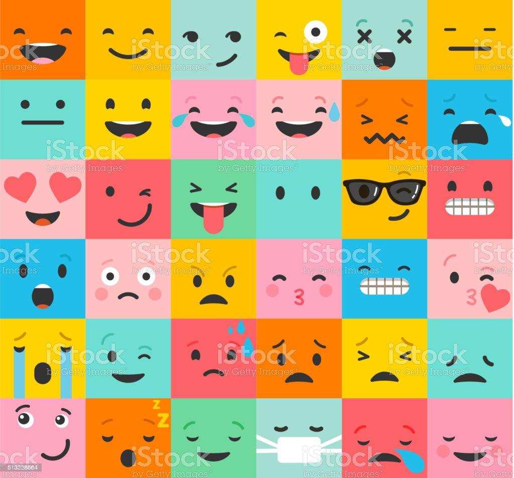 Set of colorful emoticons, emoji flat backgound pattern vector art illustration