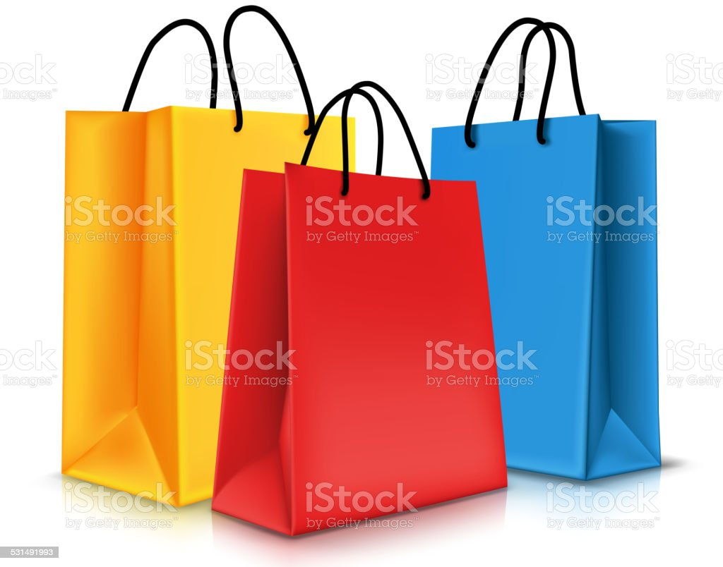 Shopping Bags Clip Art, Vector Images & Illustrations - iStock