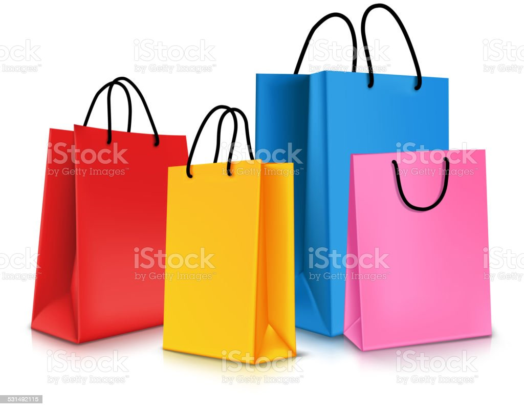 Set of Colorful Empty Shopping Bags Isolated. Vector Illustration vector art illustration