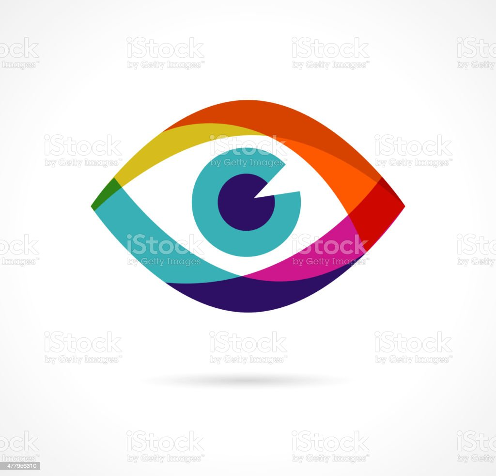 Set of colorful eye icons vector art illustration