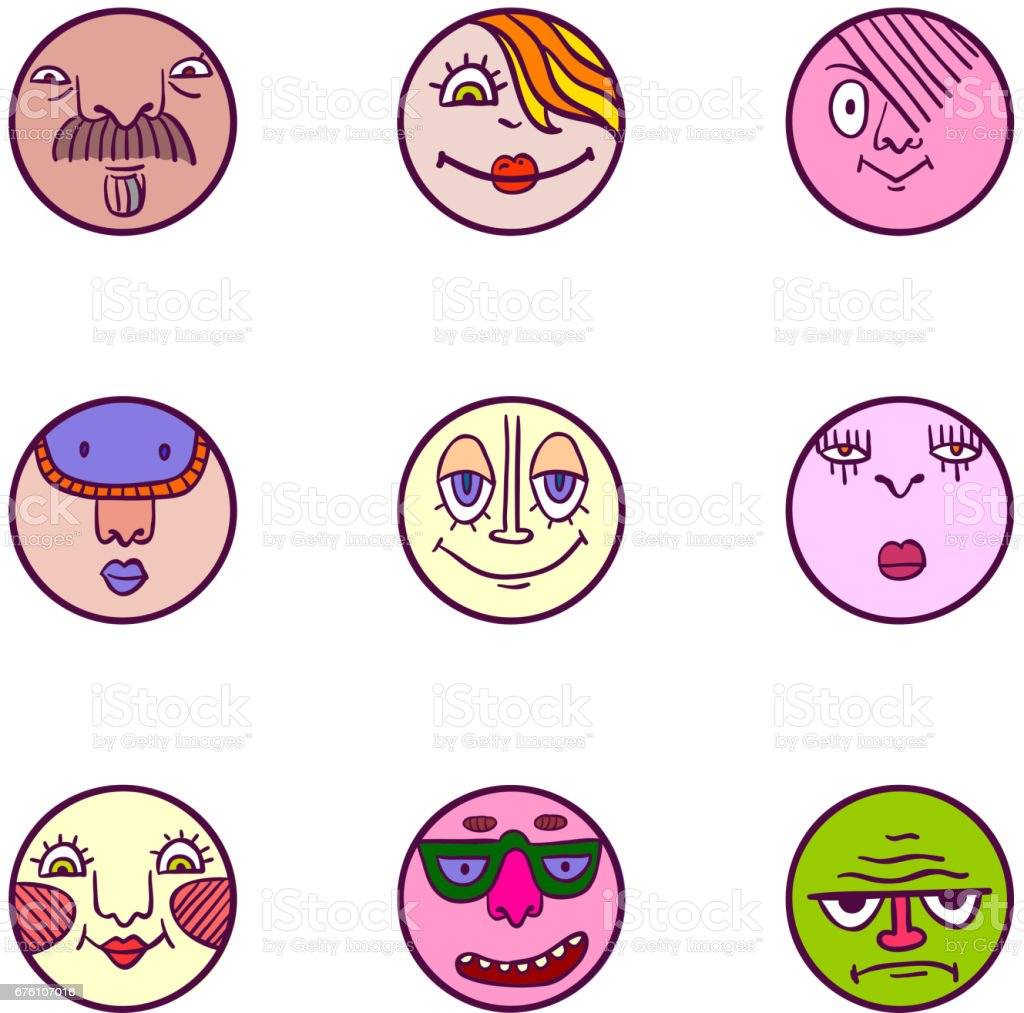 Set of colorful face avatar expression icons vector art illustration