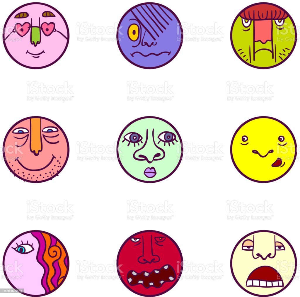 Set of colorful face expression icons vector art illustration