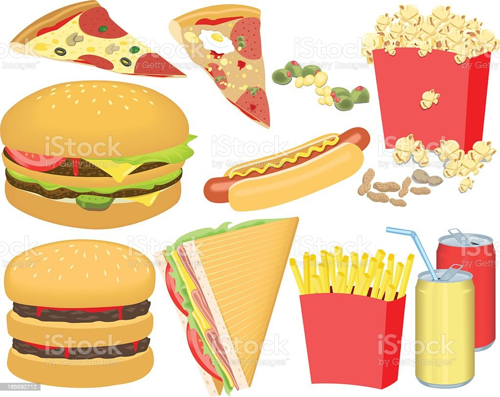 Set of colorful fast food graphics vector art illustration