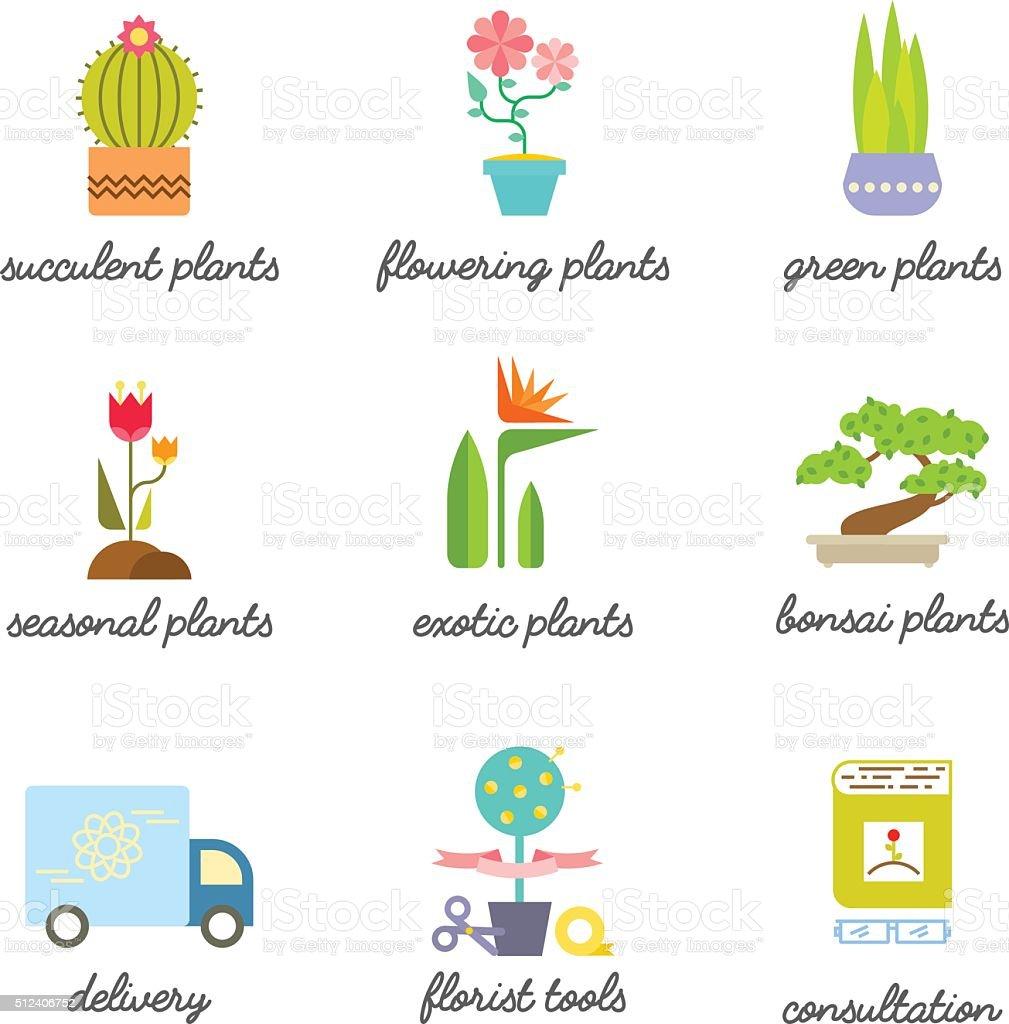 Set of colorful flat icons for Flower or Florist shop. vector art illustration