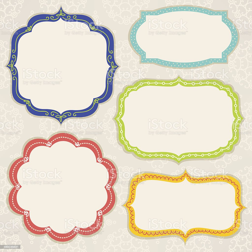 Set of colorful frames vector art illustration