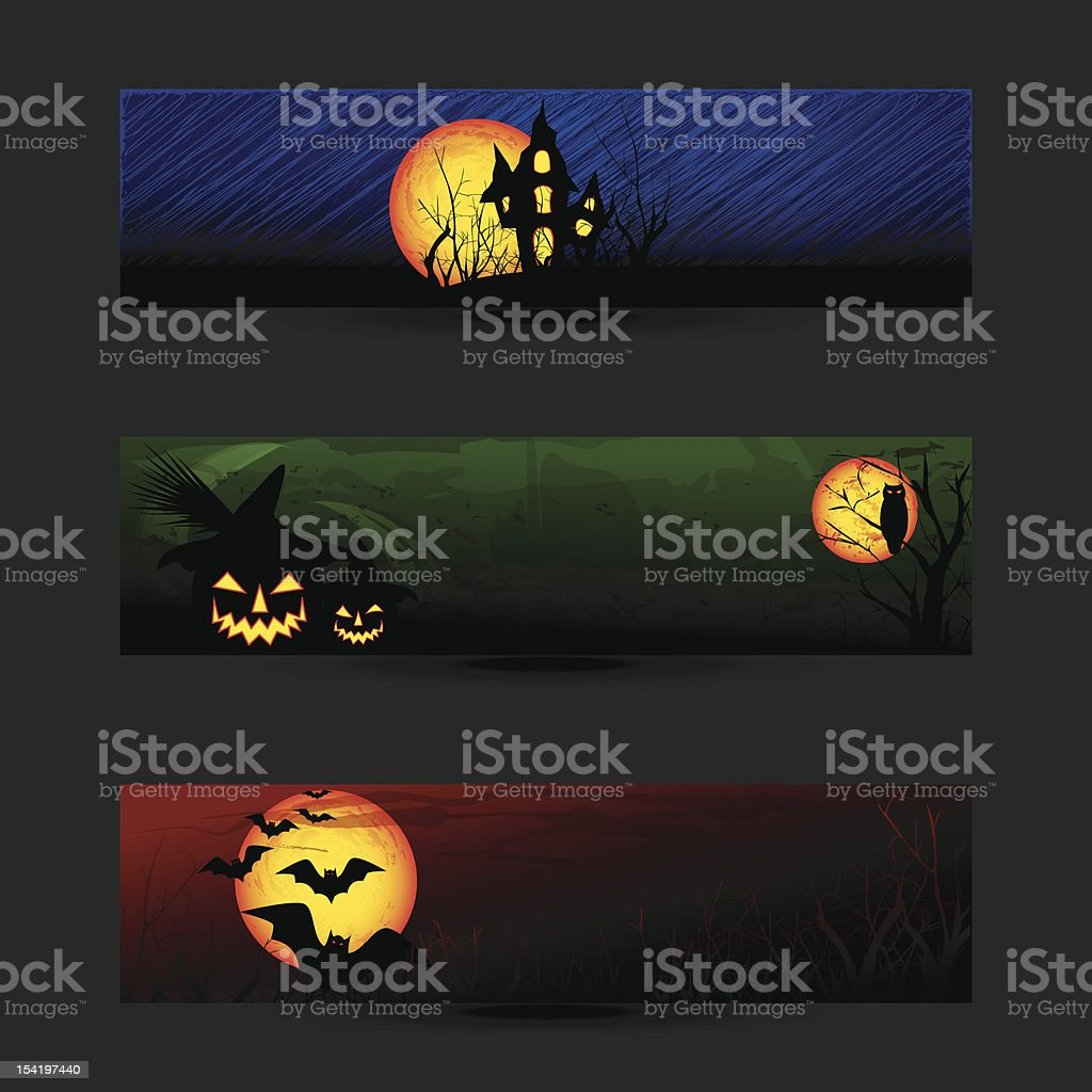 Set of Colorful Halloween Banner or Web Header royalty-free stock vector art