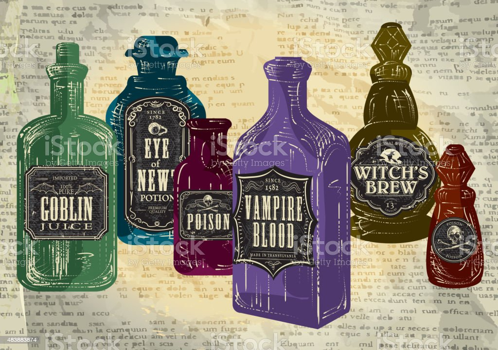 Set of colorful Hallowe'en bottles with labels vector art illustration