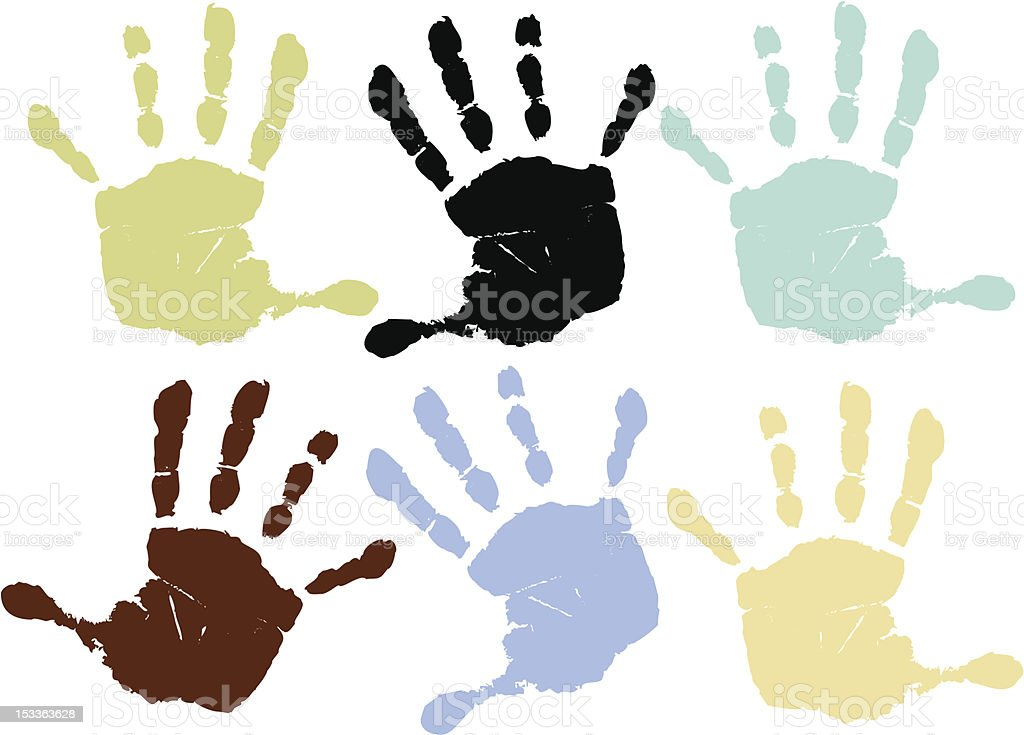 Set of  colorful hand prints royalty-free stock vector art