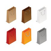 Set of colorful icons of empty shopping bags