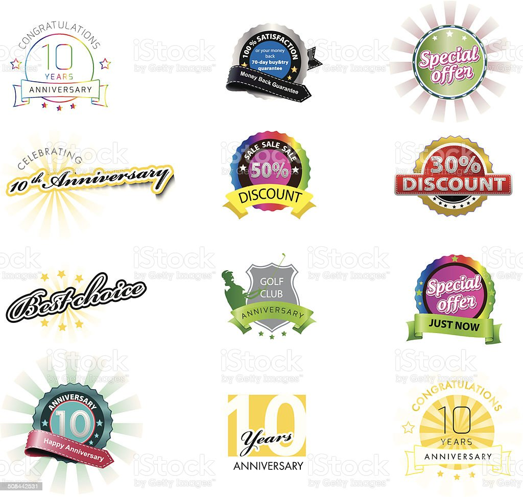 Set of colorful icons vector art illustration