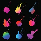 Set of colorful ink grunge spots on white background