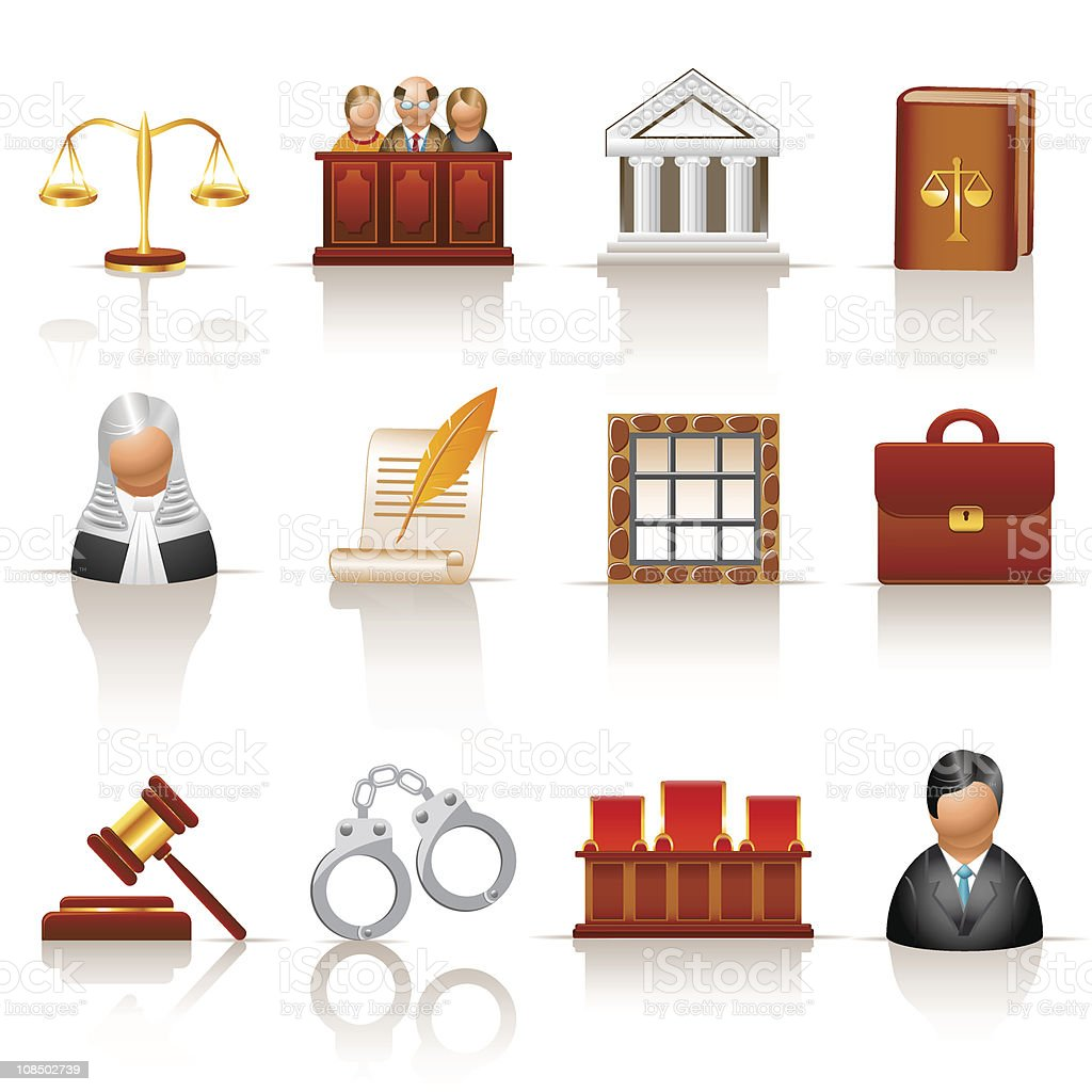 Set of colorful law and court icons royalty-free stock vector art