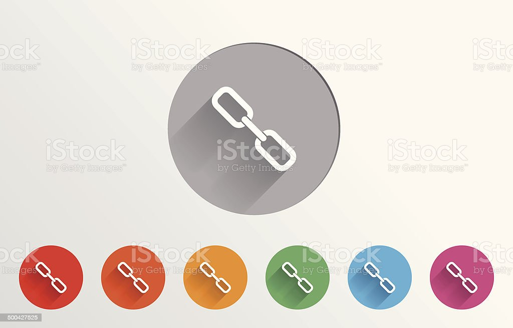 Set of colorful link icons vector art illustration