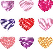 Set of colorful marker hand drawn hearts. Vector illustration