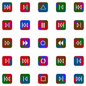 set of colorful mosaic buttons icon