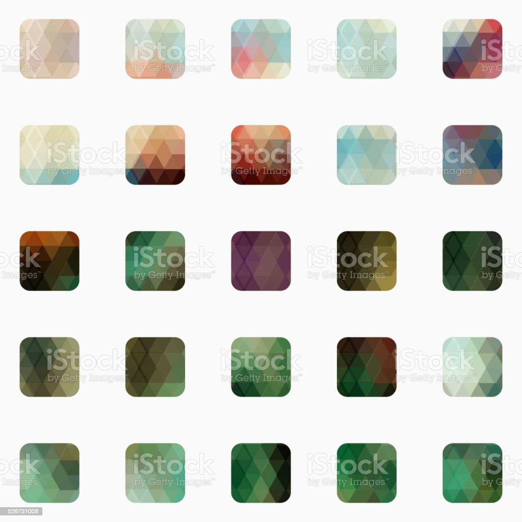 set of colorful mosaic buttons vector art illustration
