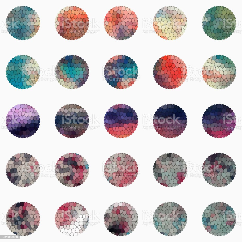 set of colorful mosaic round buttons vector art illustration