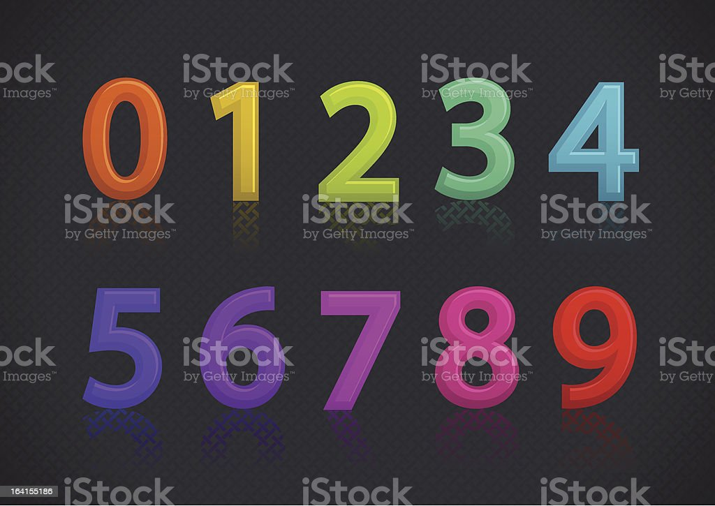 Set of colorful numbers royalty-free stock vector art
