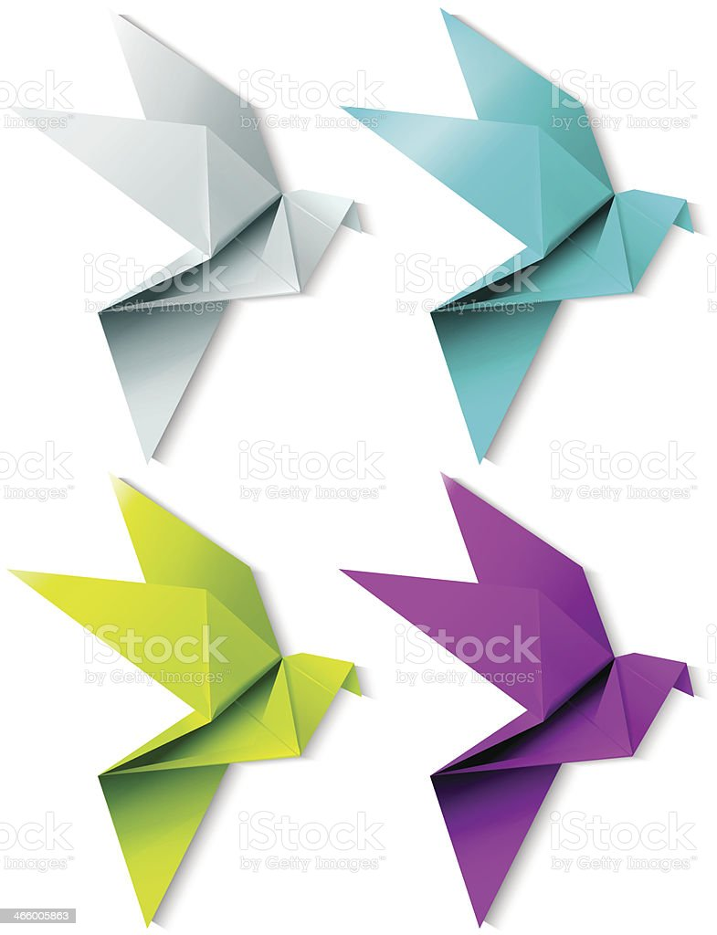 Set of colorful origami bird. EPS 10 vector art illustration