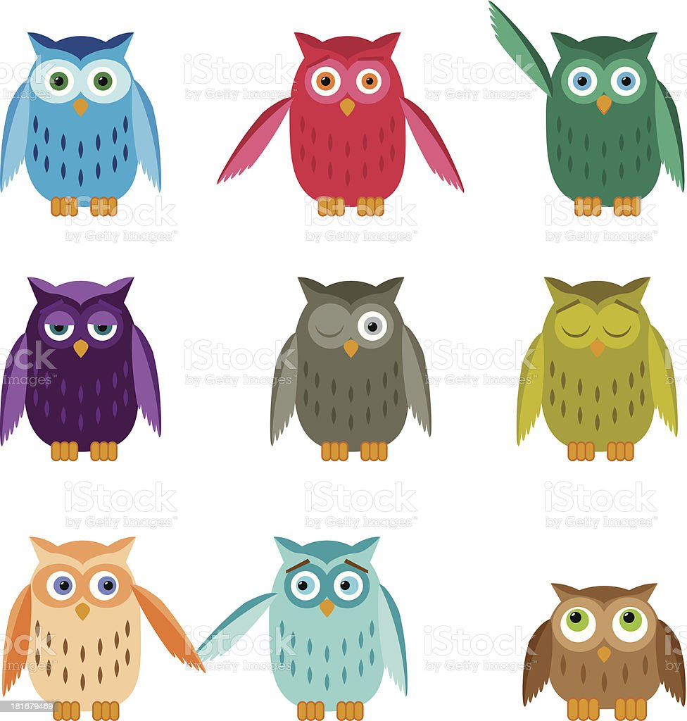 Set of Colorful Owls vector art illustration