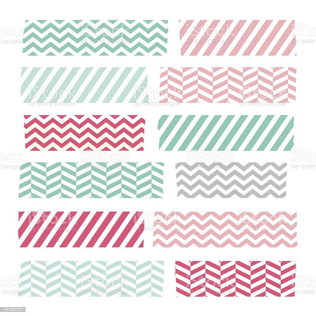 Set of colorful patterned washi tape stripes vector art illustration