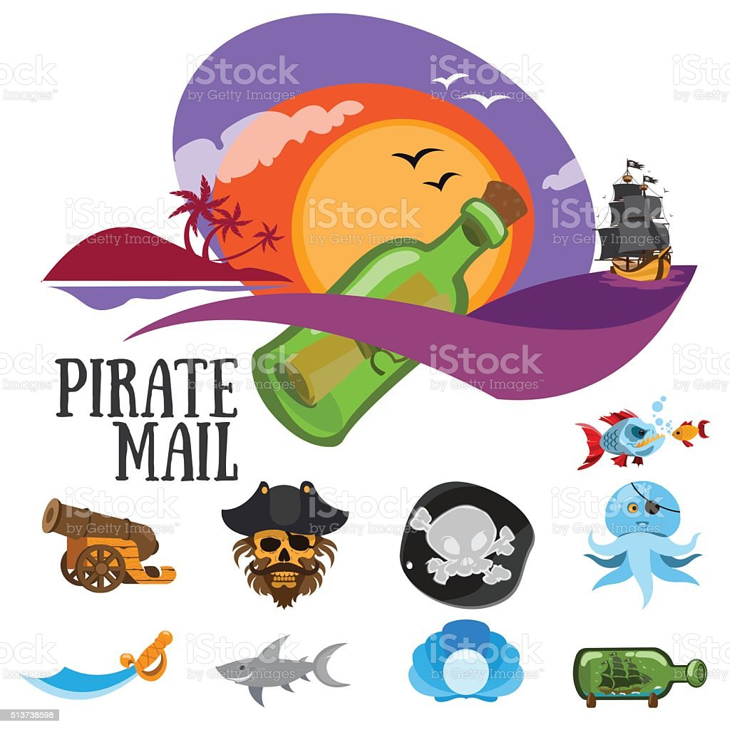 Set of colorful patterns pirate mail, pirates. vector art illustration