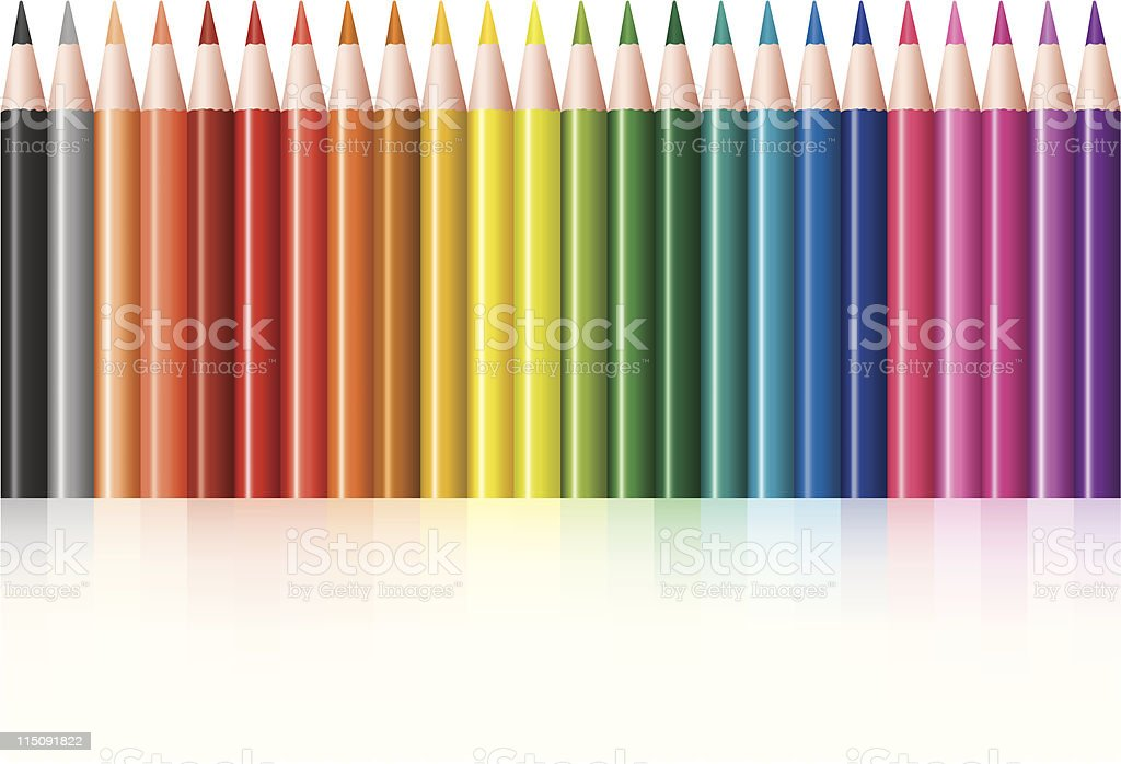Set of colorful pencils in white background royalty-free stock vector art