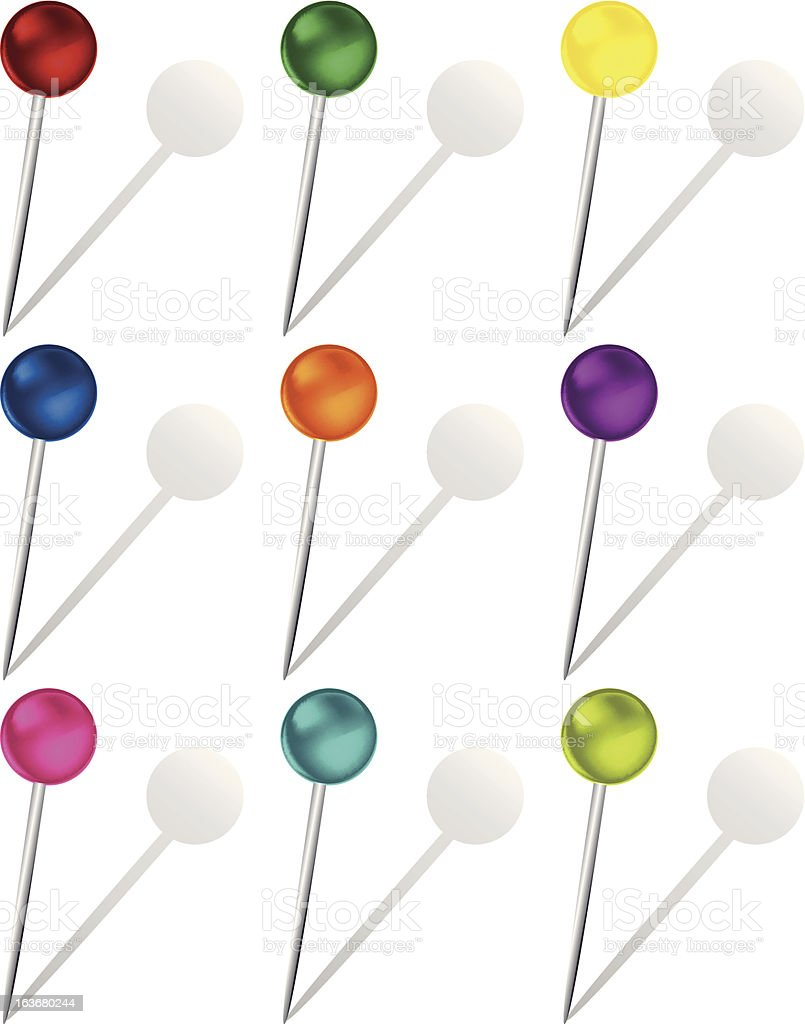Set of Colorful Pins royalty-free stock vector art