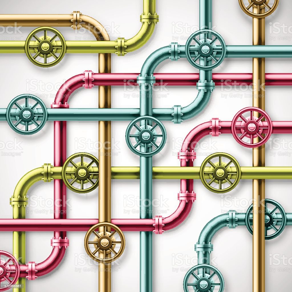 A set of colorful pipes in red, yellow, and blue vector art illustration
