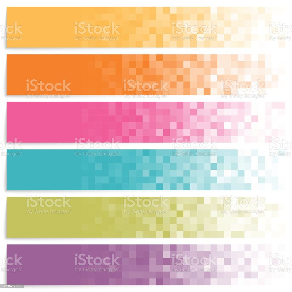 Set of colorful pixel banners vector art illustration