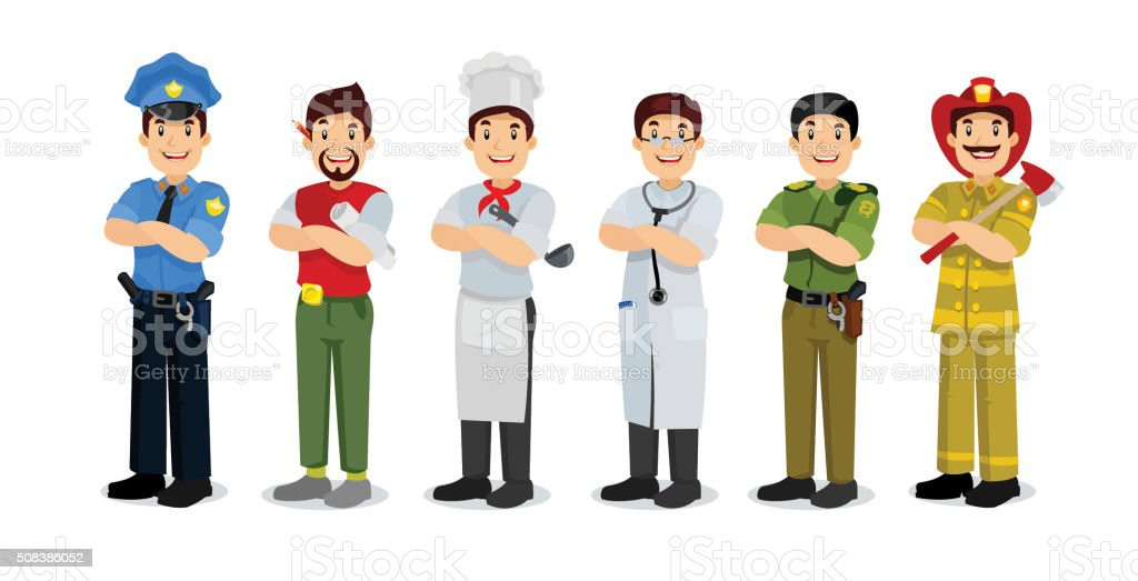 Set of colorful profession man flat style icons: policeman, arti vector art illustration