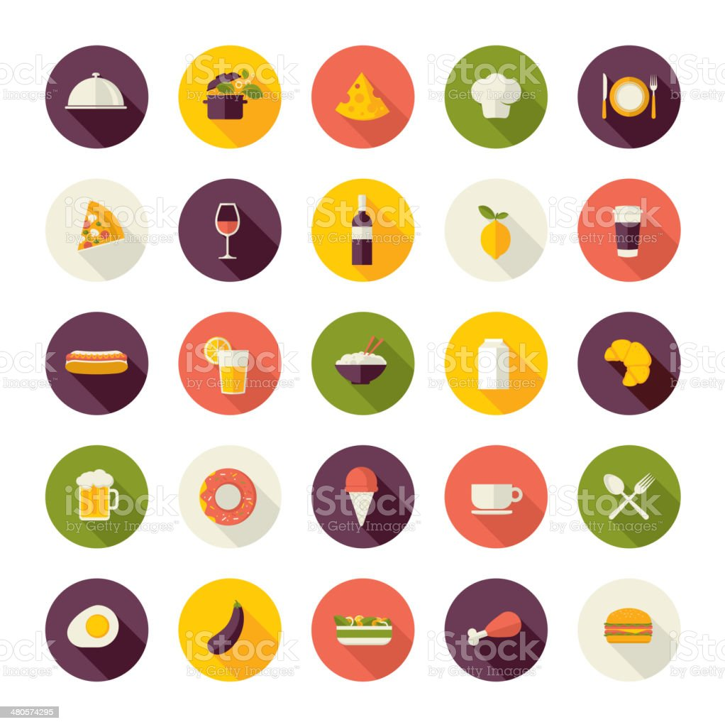 Set of colorful restaurant icons vector art illustration