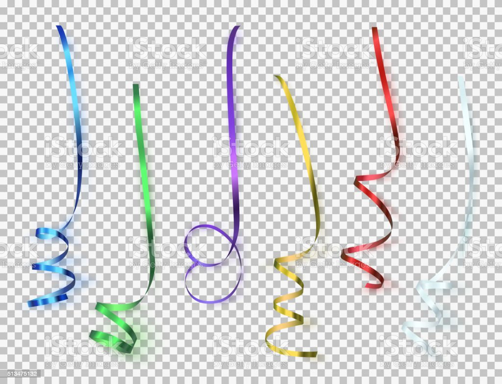 Set of colorful ribbons on transparent background. vector art illustration