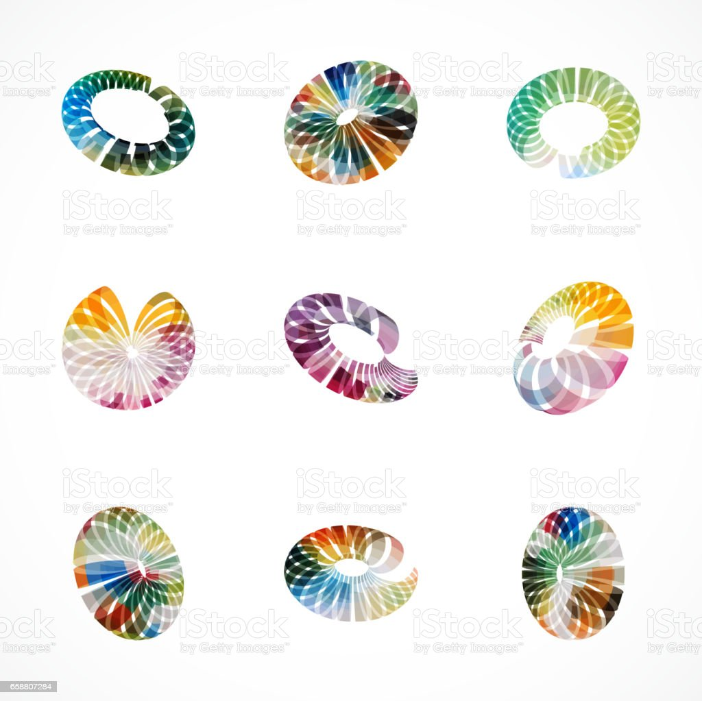 Set of colorful ring pattern icon vector art illustration