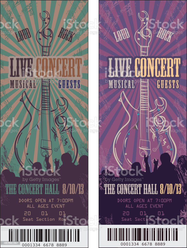 Set of colorful rock n' roll concert tickets template design vector art illustration