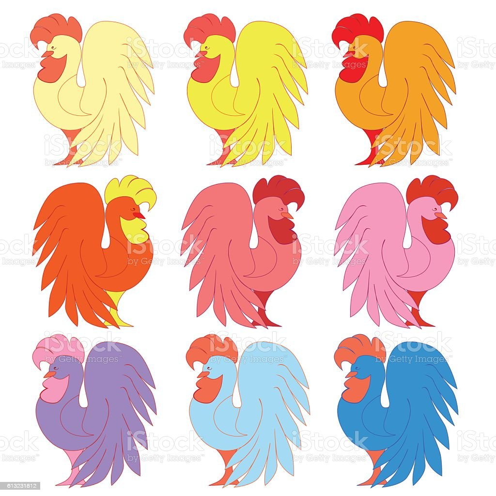 Set of colorful roosters royalty-free stock vector art