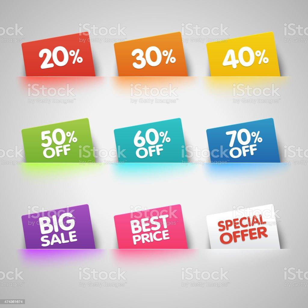 Set of colorful Sale labels in pocket vector art illustration