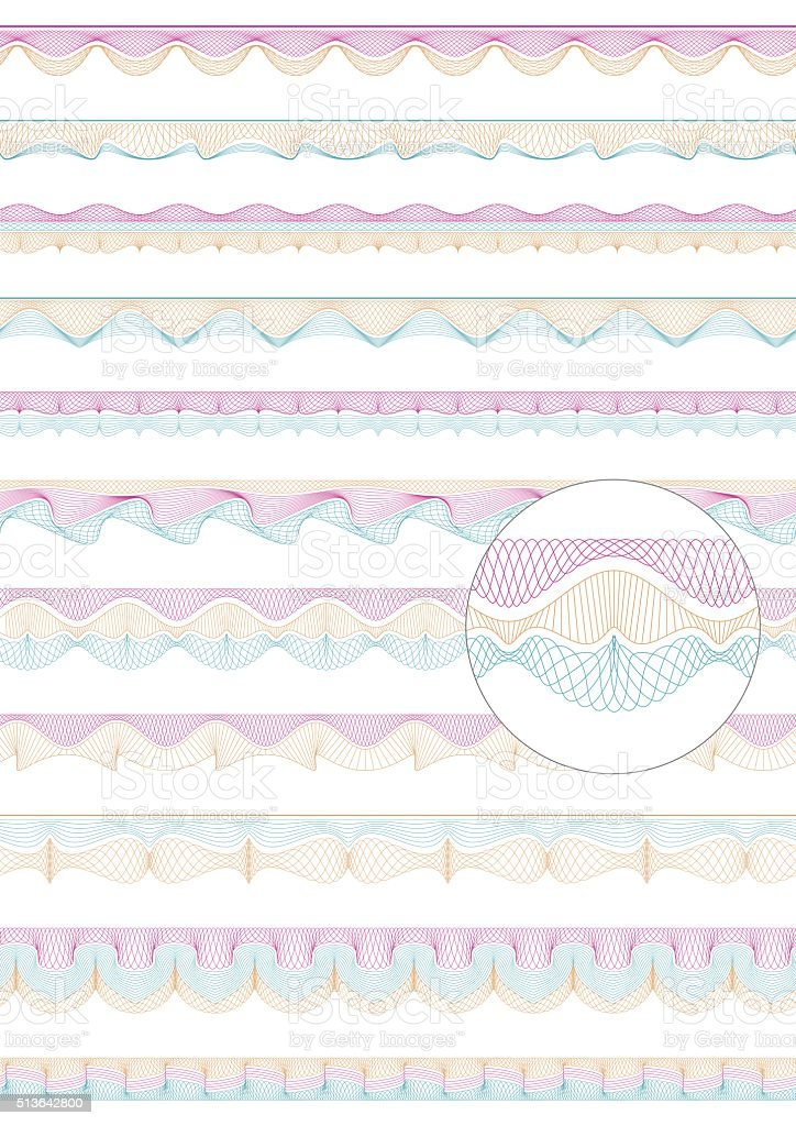 Set of colorful seamless guilloche vector borders vector art illustration